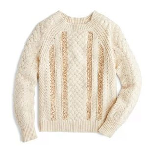 New J.Crew Cable Knit Sequin Sweater Size Large